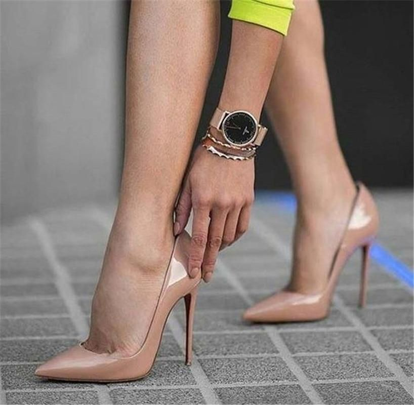 15c713a35815 OKHOTCN Sexy Rivets Shiny Patent Leather High Heels Nude Pointed toe Pumps  Shoes Party Shoes Women Stiletto High heel Pump 12cm - GTG