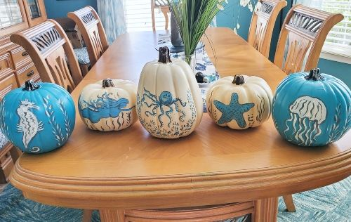 Painted Pumpkins with a Coastal, Beach & Nautical Theme #paintedpumpkins