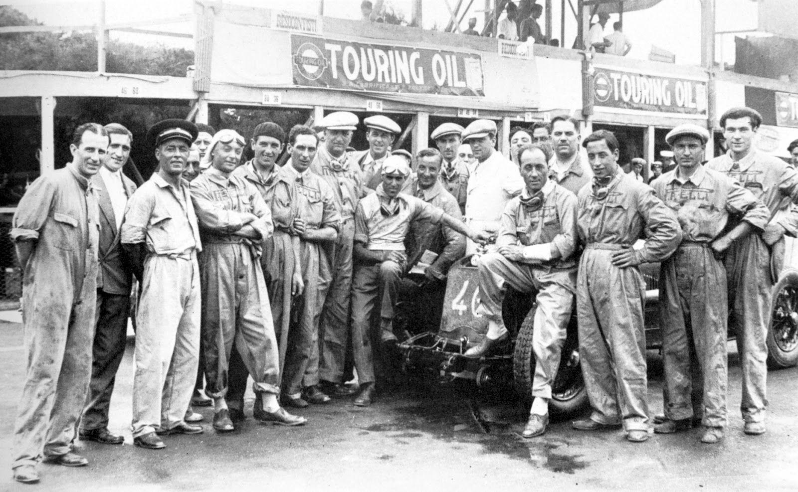 Coppa Ciano 1930 , Alfa Romeo P2 #46 of Tazio Nuvolari , Team of Scuderia Ferrari...Starting with 4th from the left - Borzacchini, Bignami, Siena, Ferrari, Sguanci, Nuvolari, Bertolini, Augusto Caniato, Arcangeli, Onagro, Verdelli e Lucchi.