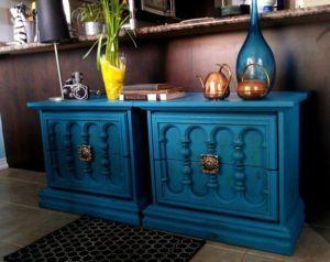 Handfinished Ornate Teal Bedside Tableside Dressers