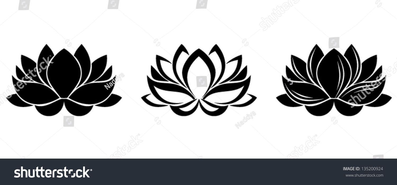 Lotus Flowers Silhouettes Set Of Three Vector Illustrations Desi