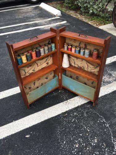 Vintage Folding Sewing Cabinet Wood, Vintage Sewing Cabinet