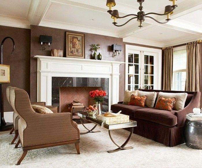 braune wandgestaltung brauntöne in einem gemütlichen wohmzimmer - wandgestaltung braun