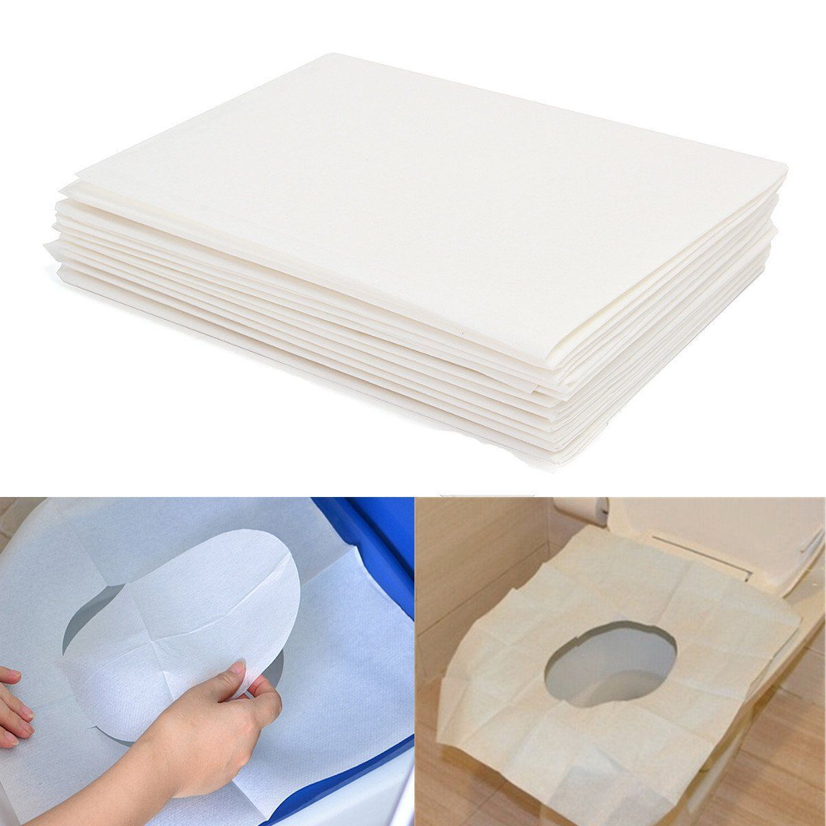 10pcs Toilet Seat Covers Paper Travel Biodegradable Disposable