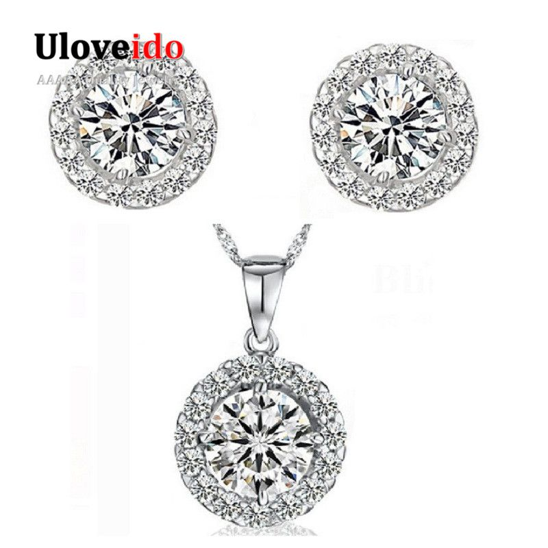 Find More Jewelry Sets Information About Cheap Fashion Crystal Necklace And Earring Set Women 925 Sterling