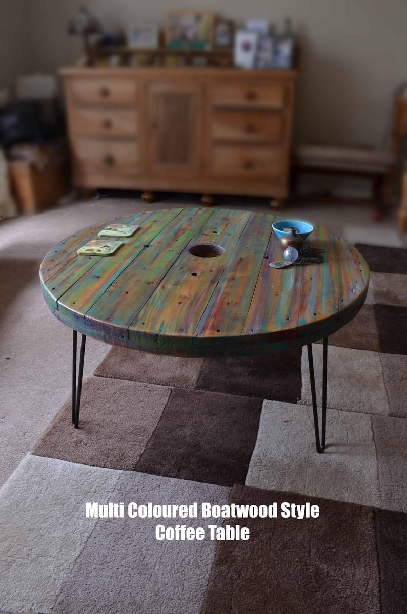 5 Out Of 5 Stars My Table Arrived Today And Im In Love With It So Colourful And Quirky Well Finished And Coffee Table Rustic Wood Furniture Color Washed Wood [ 1199 x 794 Pixel ]