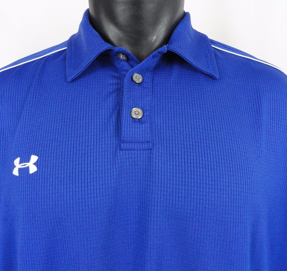 f4c3c909 Under Armour Mens L Golf Polo Shirt Royal Blue Stretch SS Ribbed Wicking  Perform #Underarmour #PoloRugby