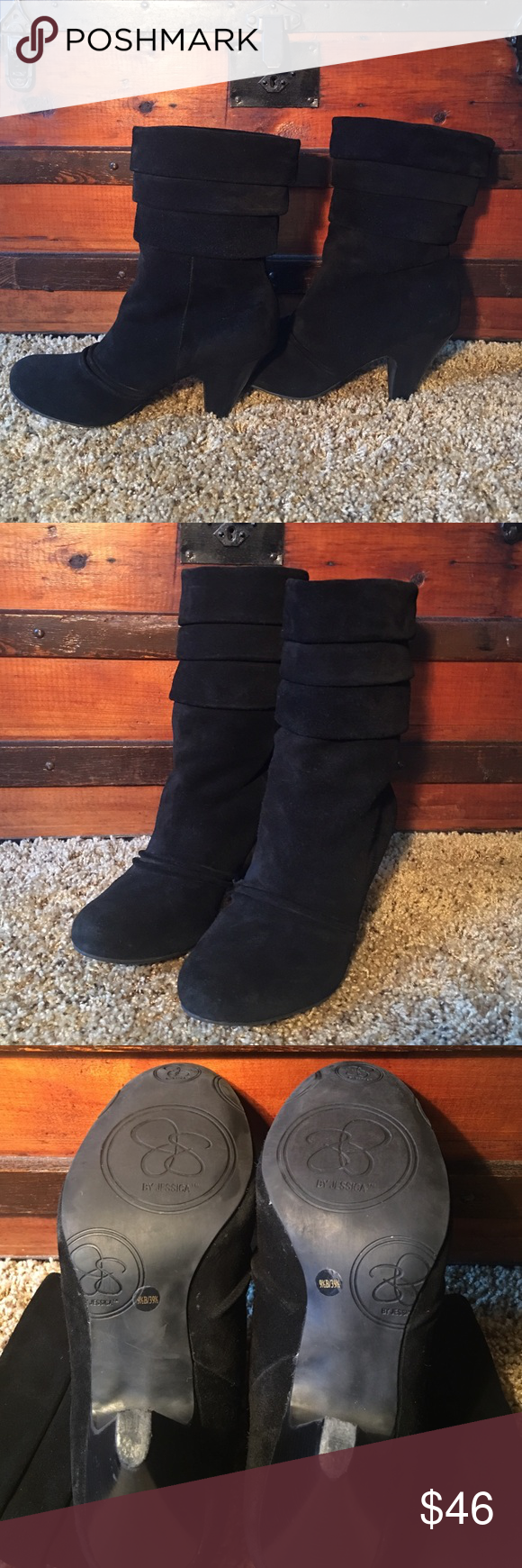 """Suede Boots Excellent used condition. No defects. Black suede, mid calf, slouch boots with a 3"""" heel. Shoe box not available. Jessica Simpson Shoes Heeled Boots"""