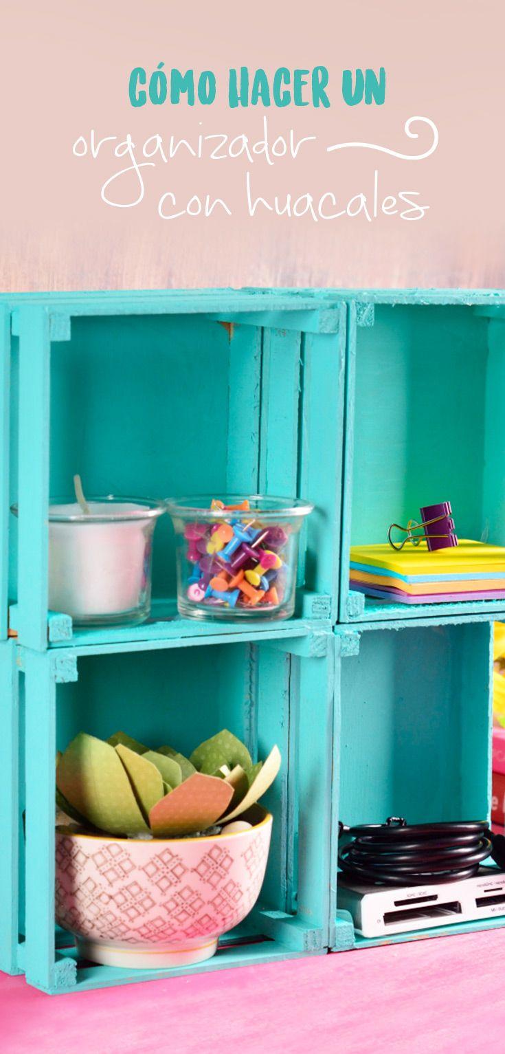 C mo hacer un organizador con huacales manualidades for Muebles de madera reciclada para cocina
