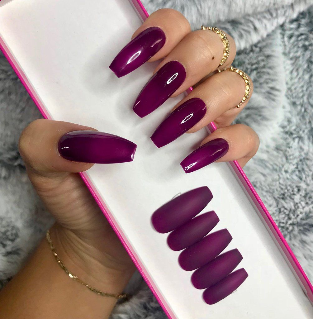 Pin By Anida On Beauty Plum Nails Best Nail Art Designs Ombre Nails