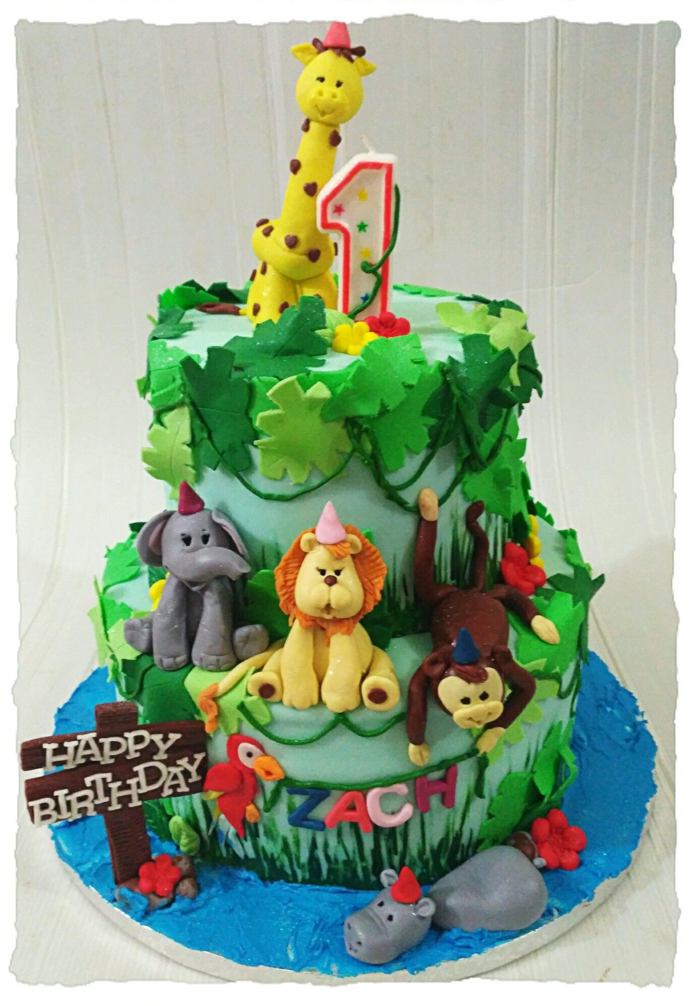 Jungle Theme First Birthday Cake For A Little Boy With Images