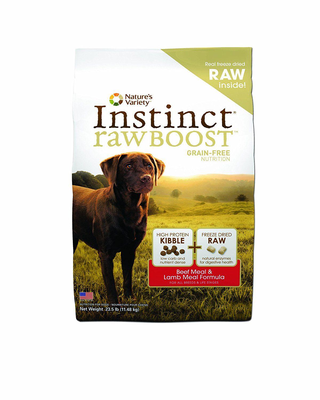 Instinct grainfree raw boost dry dog food kibble beef
