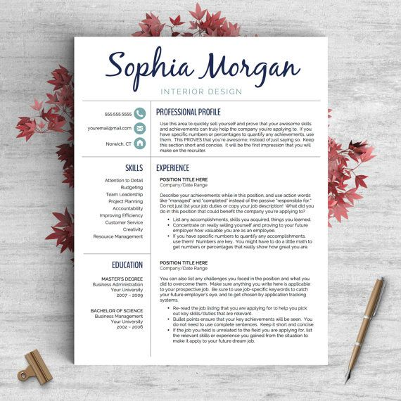 Creative Resume Template For Word And Pages The Sophia  Instant