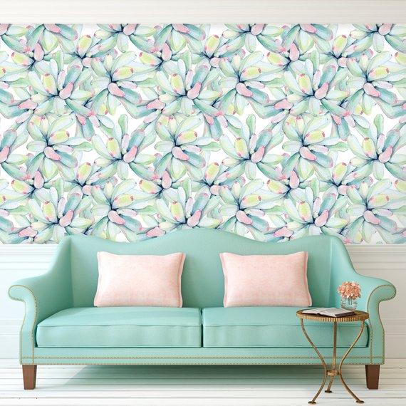 Large Succulents Wallpaper, Peel and Stick Wallpaper