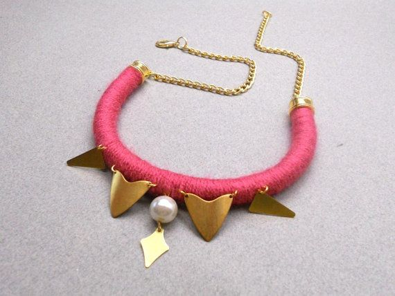 Halodesign statement necklace with pearl brass by myhalodesigns