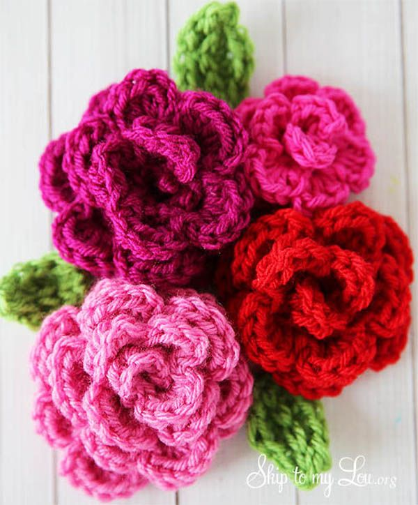 Crochet rose By skiptomylou.org | Crochet Flowers | Pinterest ...