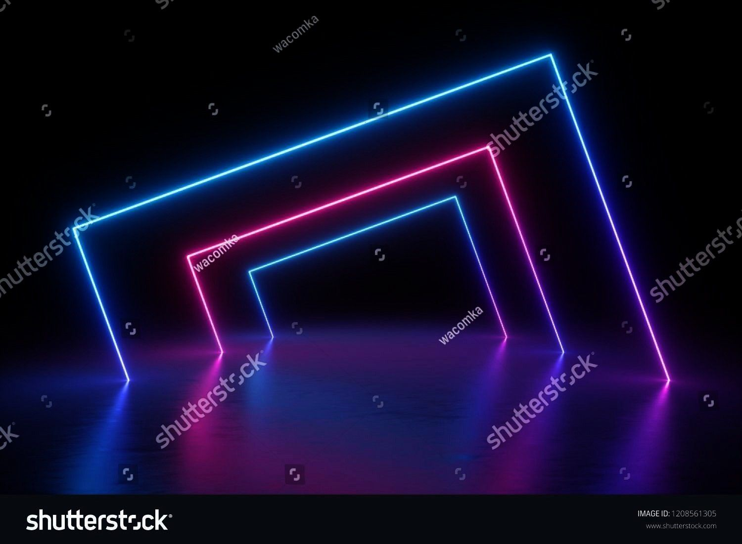 background square portal glowing lines tunnel neon lights virtual reality arch pink blue spectrum vibrant colors laser show blank space frame isolated on black 3d render...