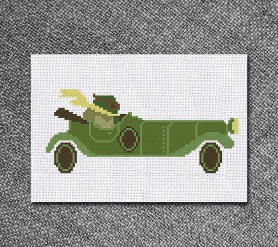 Cross Stitch Pattern Mr Toad in Retro car wind in the by Kiokiz