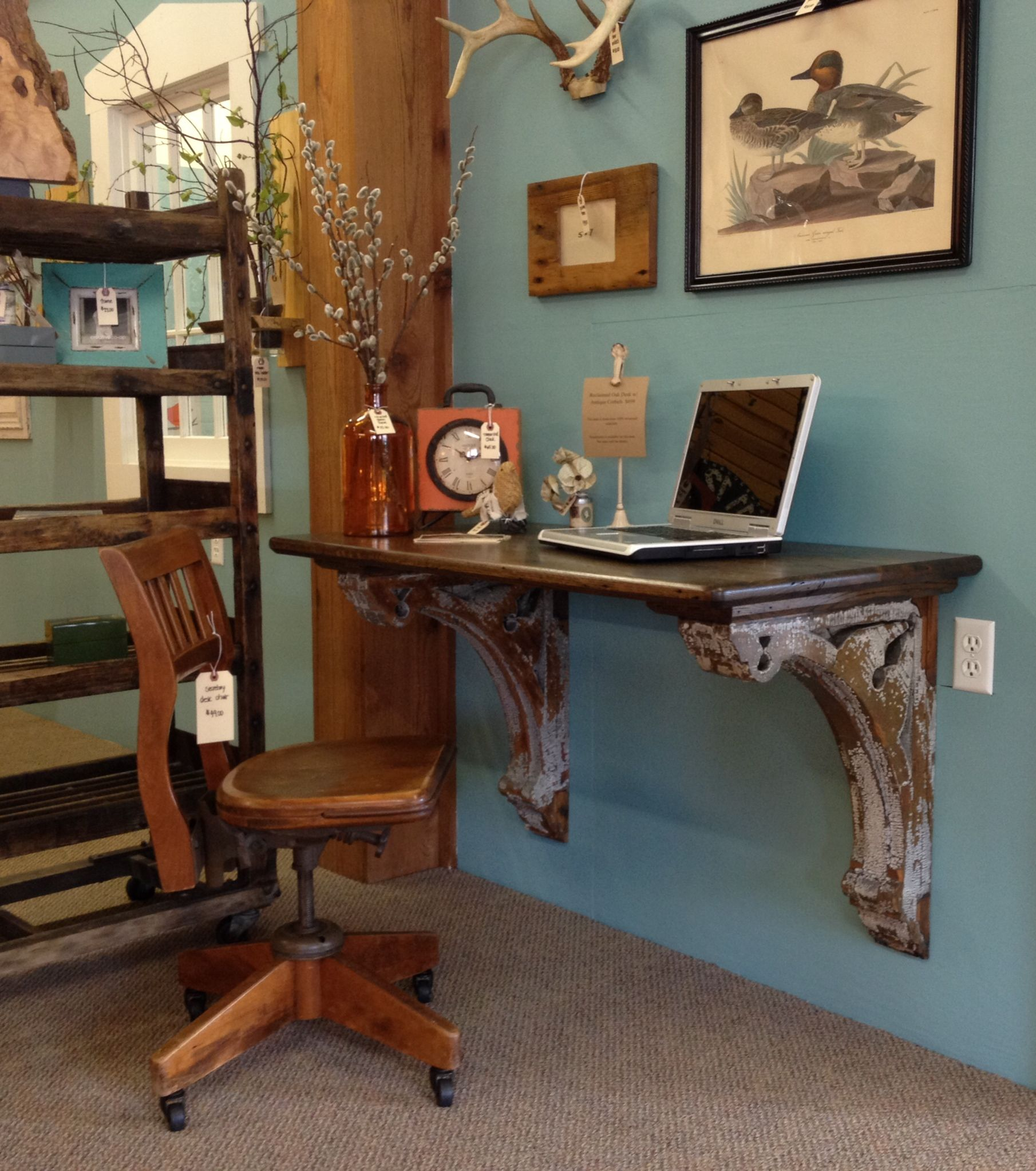 reclaimed oak desk with antique corbels office furniture