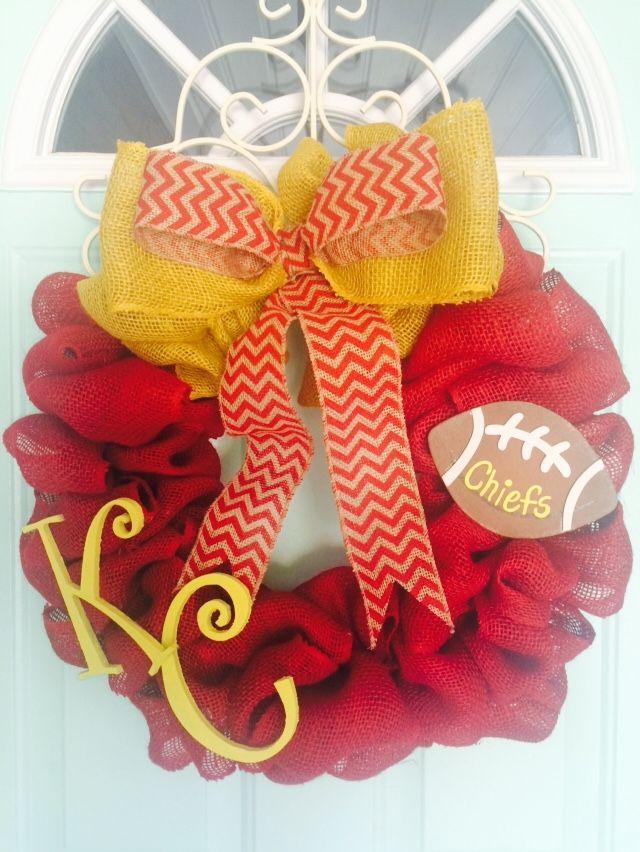 Kansas City Cheifs football indooroutdoor  grapevine wreath