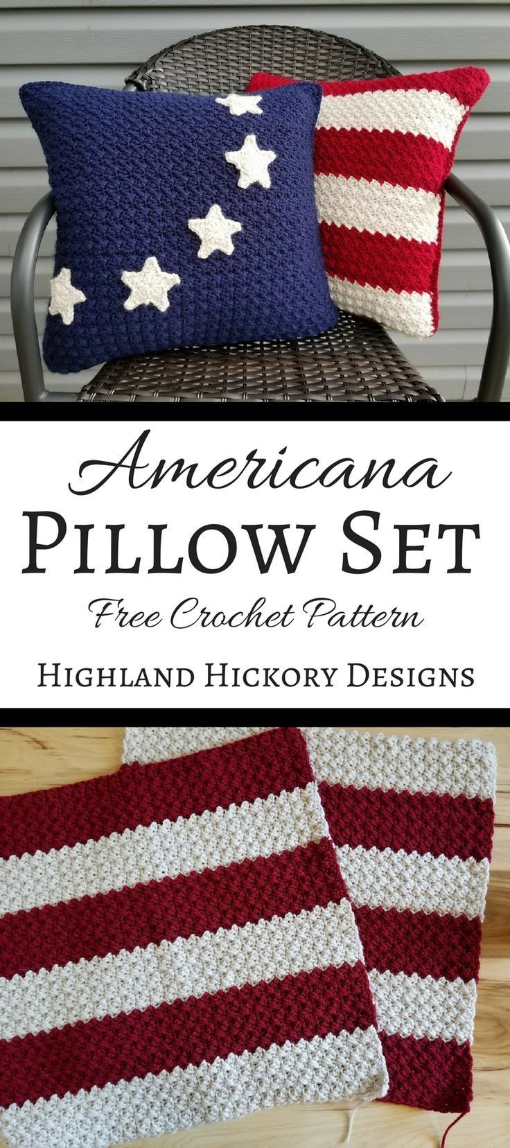Americana Pillows - Highland Hickory Designs - Free Crochet Pattern #americanflag