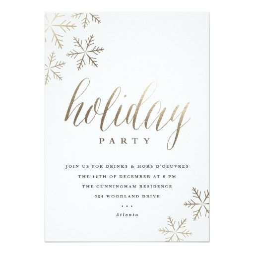Snowflakes faux foil holiday party invitation Holiday Invitations - holiday party invitation