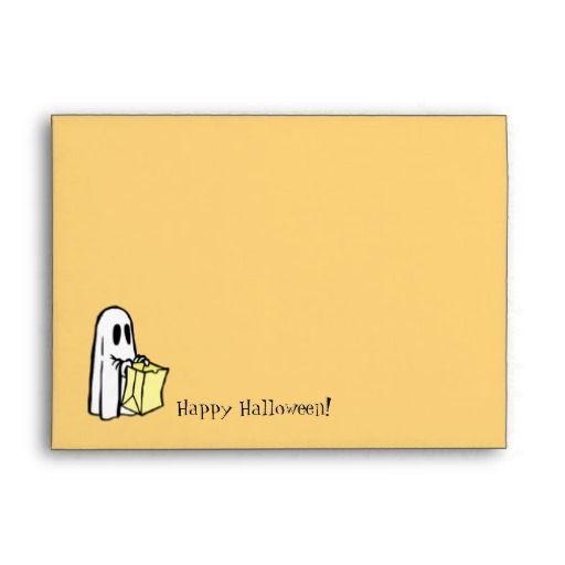 Happy Halloween Ghost Orange Envelopes