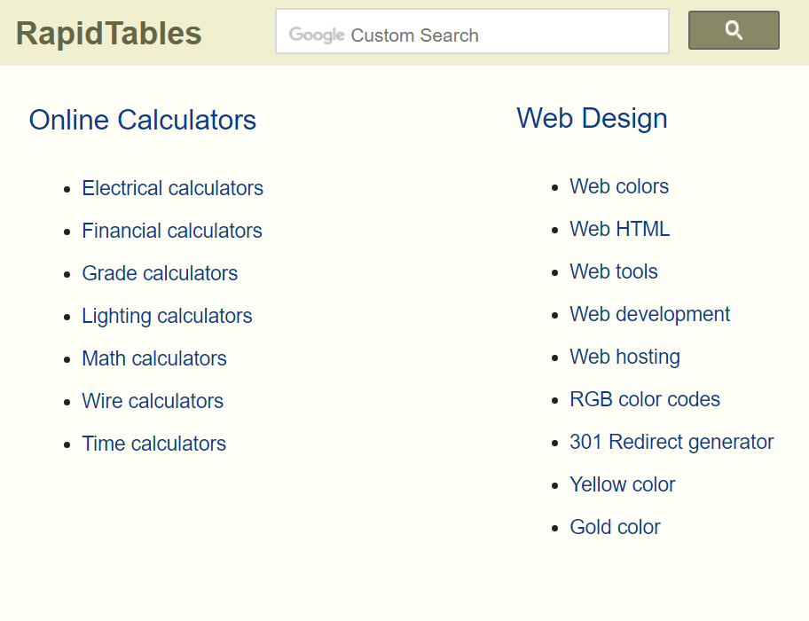Rapid Tables Provides Conversion Charts