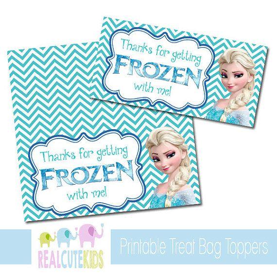 Instant Treat Bag Topper Goo Tag Diy Printable Party Favors Disney Frozen Elsa Chevron For Snack Bags On Etsy 3 00
