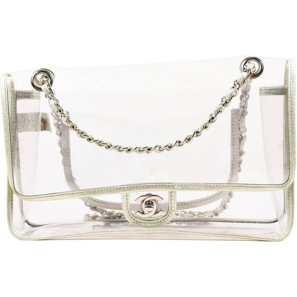 "Chanel Clear PVC Silver Tone Metallic Chain Strap ""Naked"" Flap Bag (€1.287) ❤ liked on Polyvore featuring bags, handbags, shoulder bags, bolsas, chanel, chanel bag, shoulder handbags, clear hand bags, white handbags and metallic handbags"