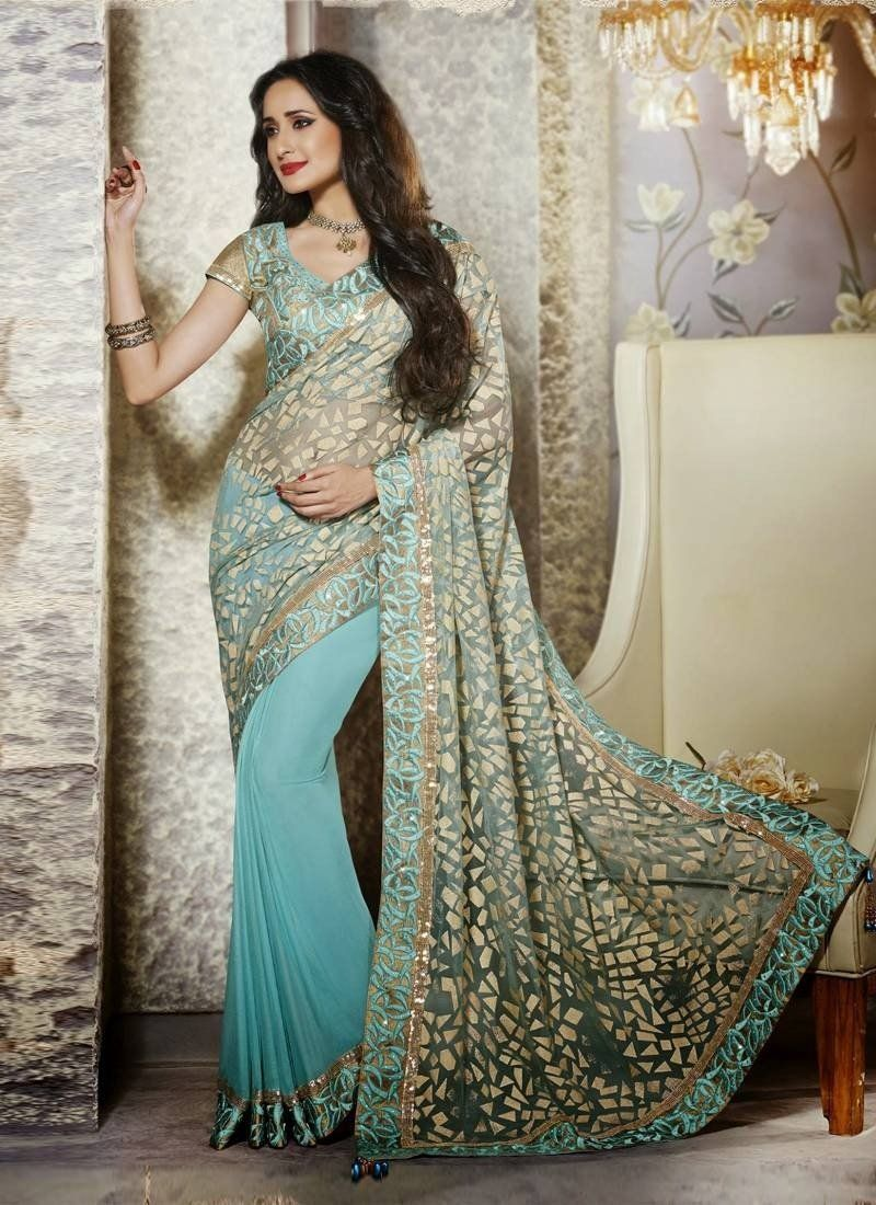 Aqua Blue Net Faux Party Wear Sarees With Lace,Resham,Sequins,Stones Works. Order Party Wear Sarees Online from chennaistore