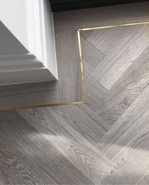 Nothing better than a detail. #Repost @herlydesign. Brass inlay × timber herringbone floors 👌🏻👌🏻👌🏻