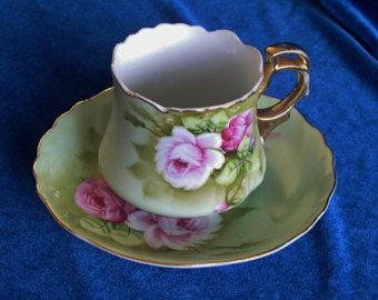 Lefton iridescent cup and saucer by HouseOfHalo on Etsy
