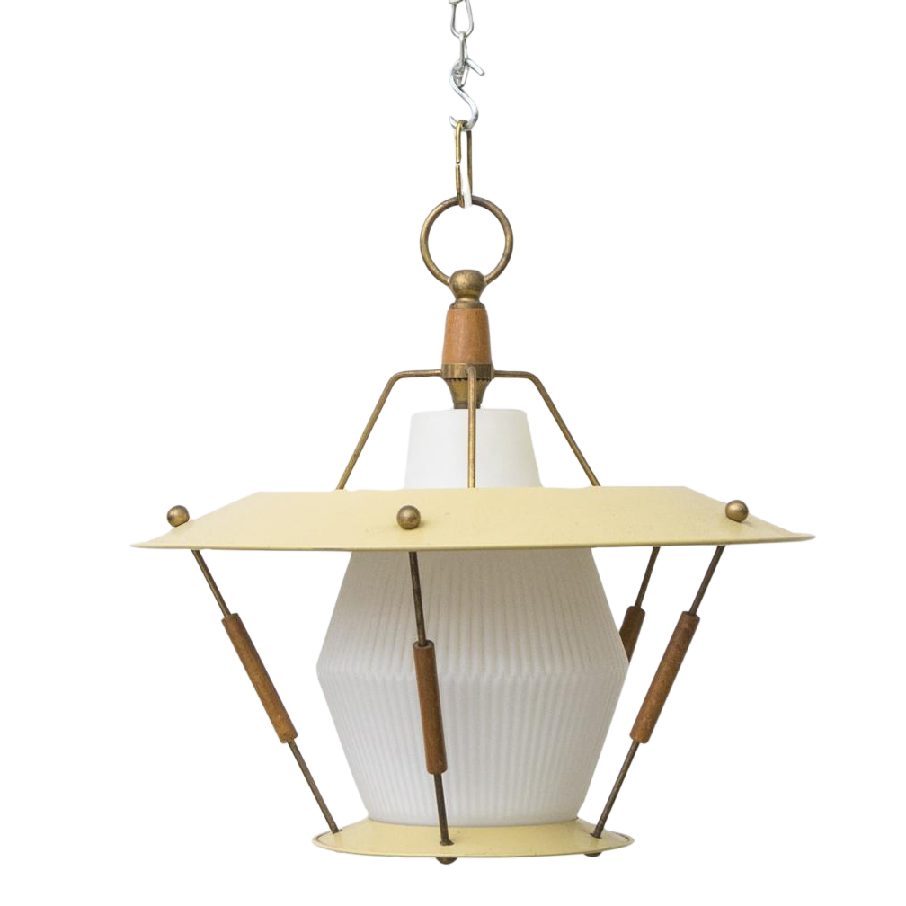 French 1950s Mategot Style Ceiling Lamp
