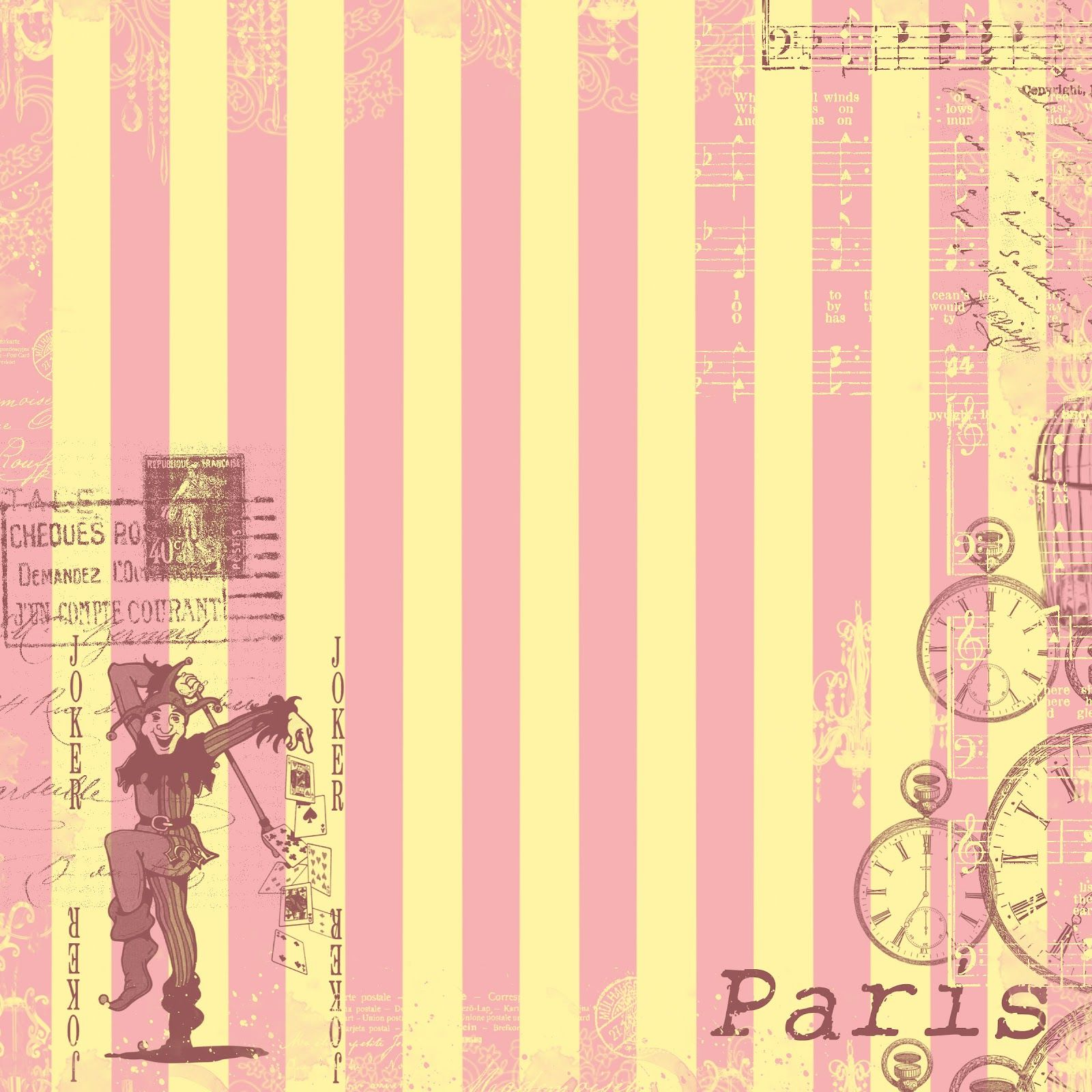 Pink Stripe Paris Collage {free} Digital Scrapbook Paper download...