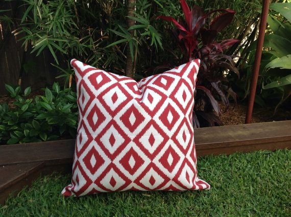 Red Outdoor Cushions Red And White Outdoor By IslandHomeEmporium