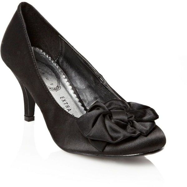 Black twisted bow kitten heels (36) liked on Polyvore
