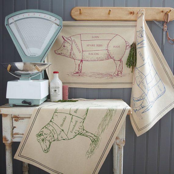 Tea Towel Kitchen Curtains: Set Of 3 Traditional Butchers Style Cotton TEA, DISH TOWEL