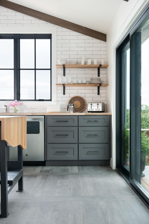 Kitchen natural wood material open shelves kitchen