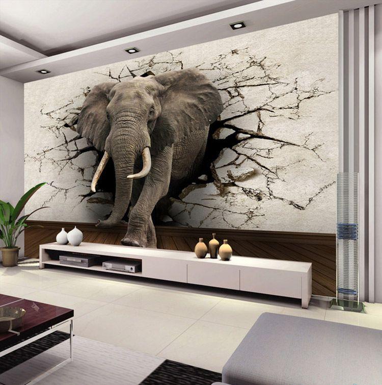 custom elephant wall mural personalized silk photo wallpaper ...