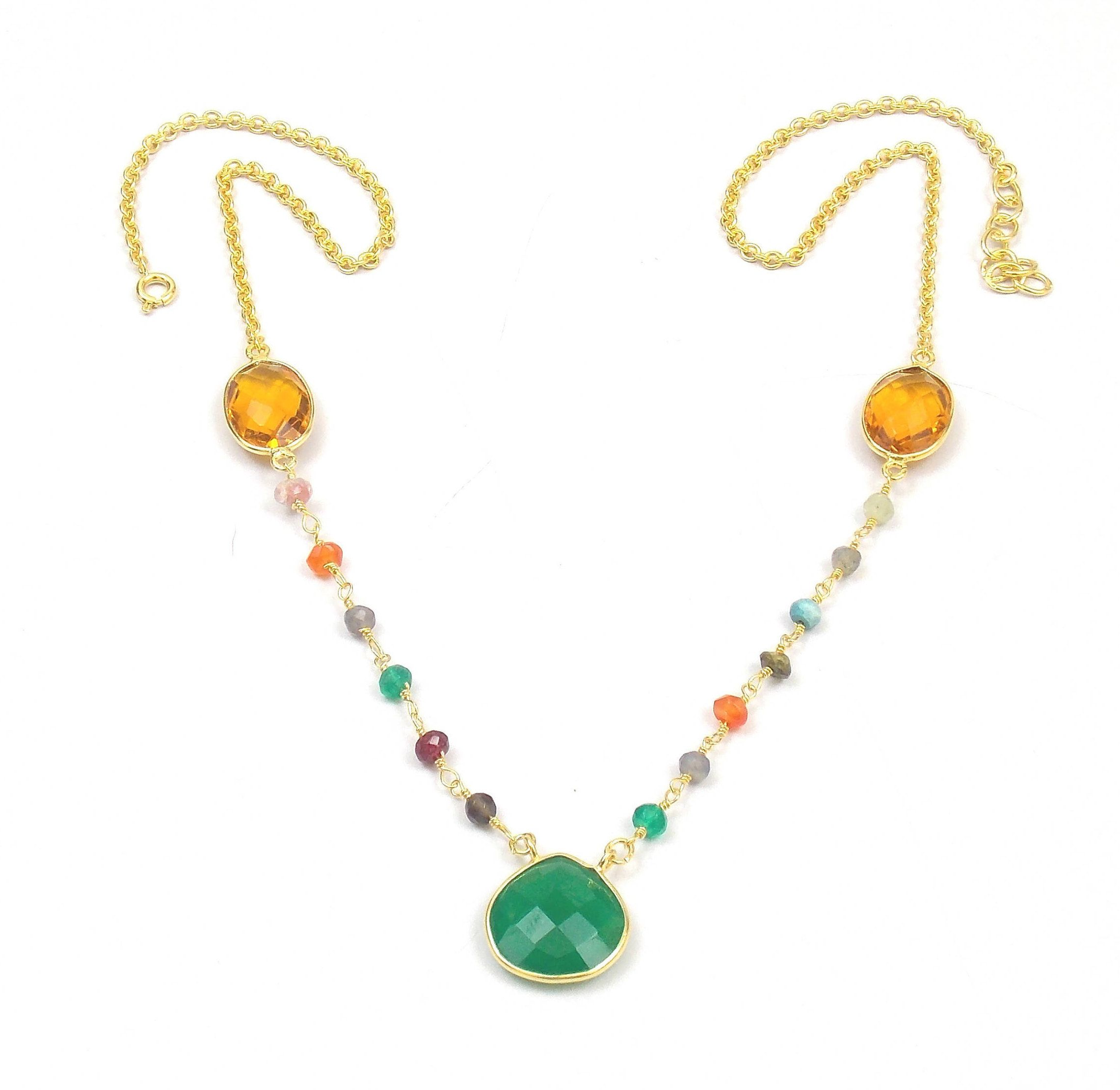 by with artificial jewellery layered and gold onyx price product kundan green buy paisley necklace kritika three