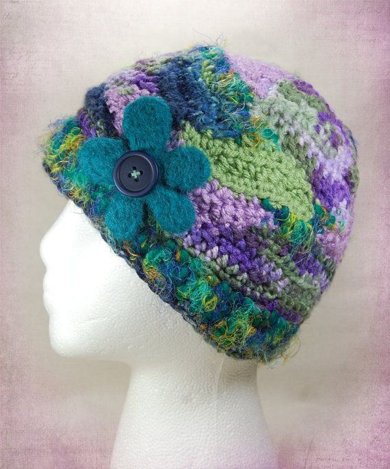 Freeform Crochet Hat with Felted Button Flower by wildlywhimsical ...
