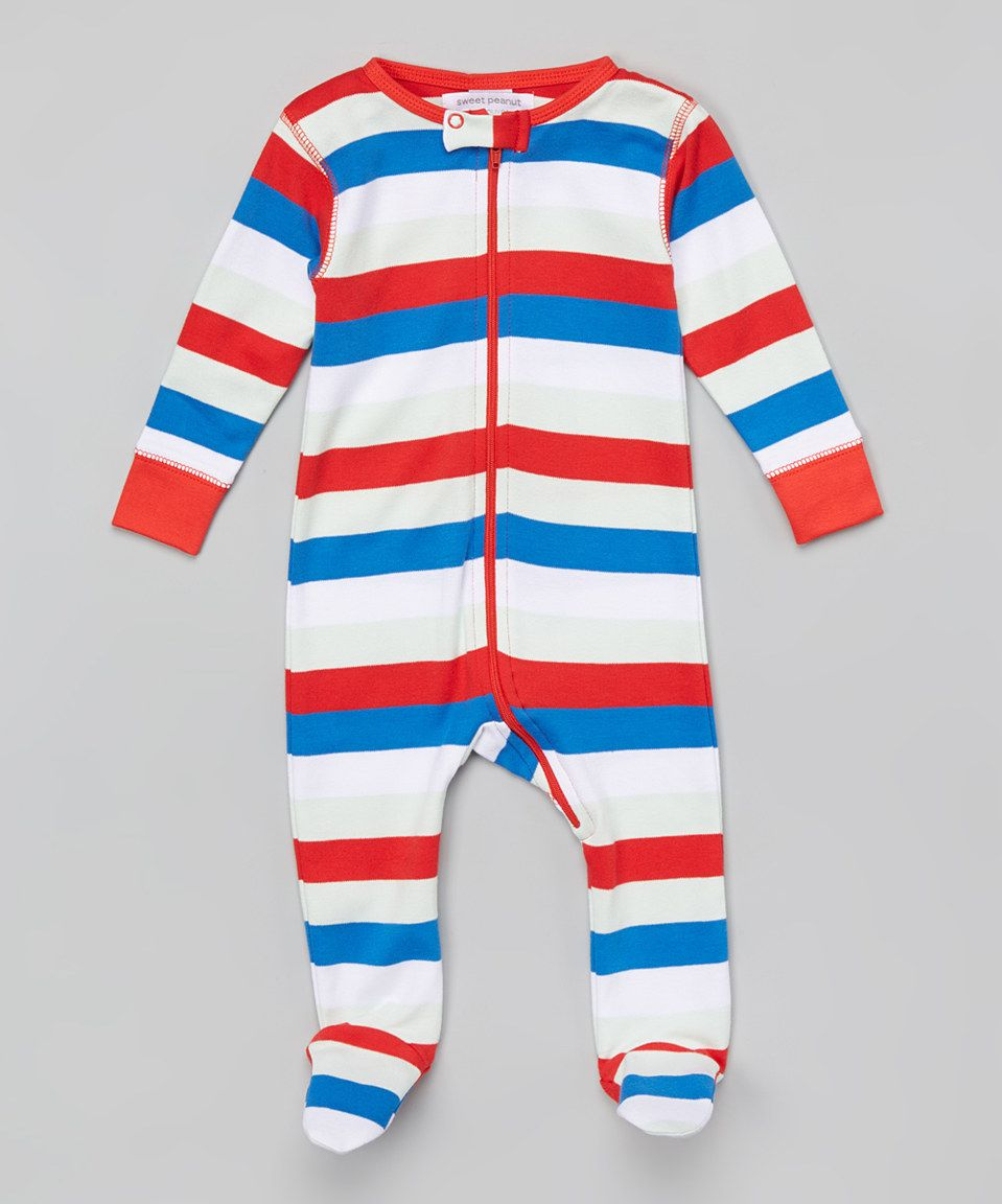 cb120d415 This Red   Blue Stripe Organic Footie - Infant by Sweet Peanut is ...