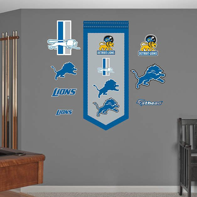 Fathead Detroit Lions Logo Evaluation Wall Graphic   Wall Sticker Outlet