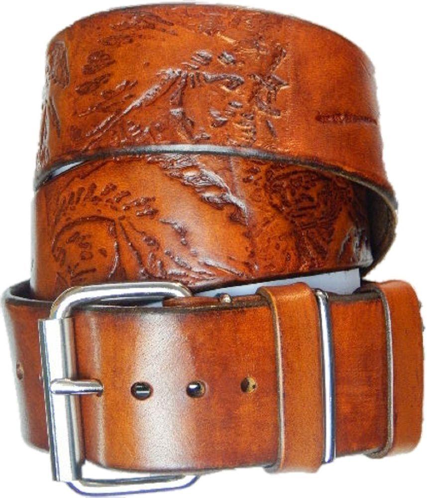 2b3a82ff24085e Vintage look. Jeans Ledergürtel.Herren. Motiv. Der Indianer .ca.5 cm ...