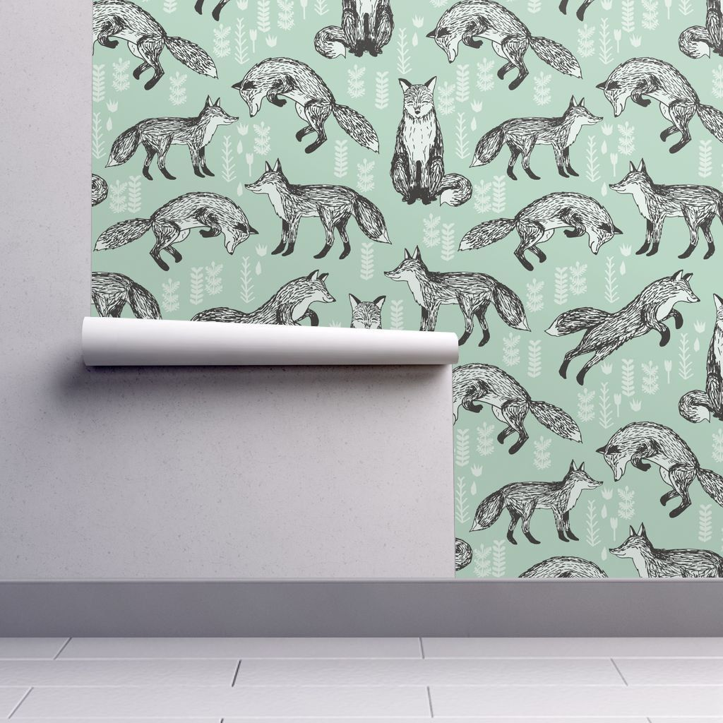 Nursery Wallpaper Fox / Mint Green Woodland Animal
