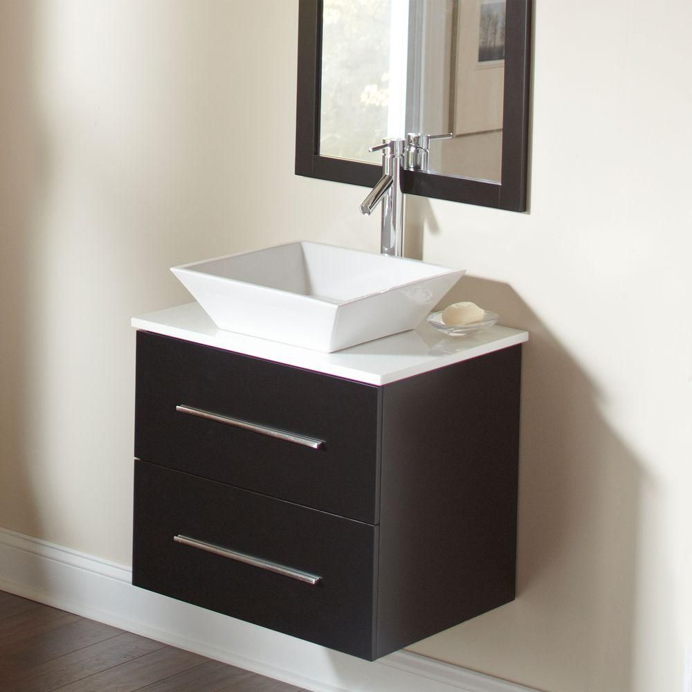 Vanity In Espresso With Solid Engineered Quartz Vanity Top In White