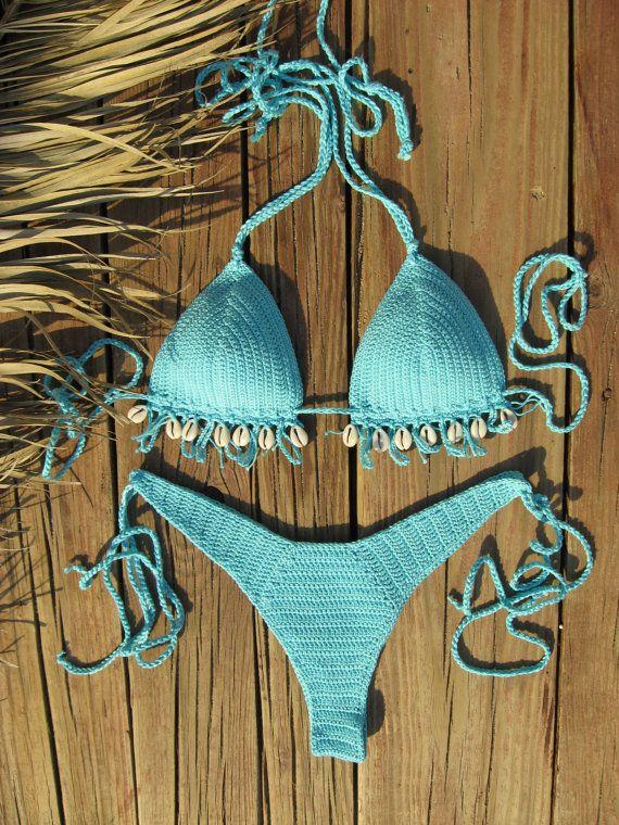 5c469f0a56da6 crochet bikini 2017 Sky Blue with Cowrie Sea Shells - Crochet Vintage bikini  Crochet Boho bikini Hippie bikini Brazilian String bikini