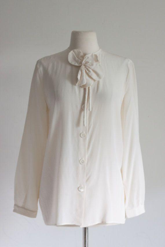 1112cabd57077 Armani Blouse - Couture Vintage Silk Top   Giorgio Armani   Designer ...