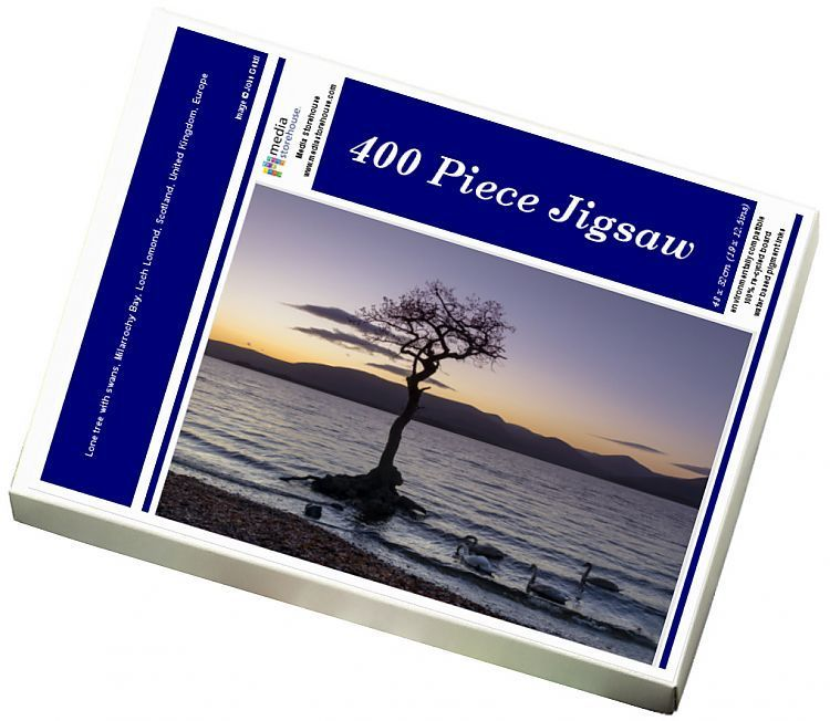 Jigsaw Puzzle-Lone tree with swans, Milarrochy Bay, Loch Lomond, Scotland, United Kingdom, Europe-400 Piece Jigsaw Puzzle made to order in the UK